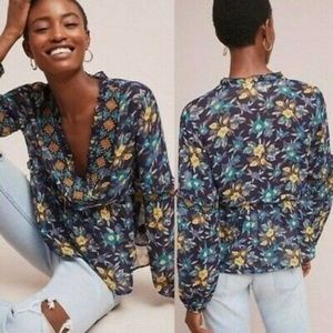 Anthropologie Strasser Embroidered Peasant Blouse